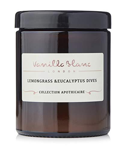 Vanilla Blanc Collection Apothicaire Bougies parfumées en Pot de Cire de Coco Biologique, 120 ML, durée de Combustion de 25 h (Plongées à la citronnelle et à l'eucalyptus)