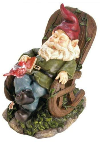 Solar Red Bird Rocking Chair Gnome, Up Rocking Chair Nap