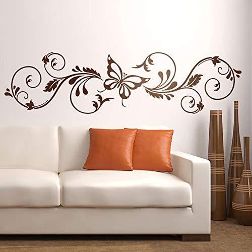 Adhesivo floral para pared, líneas simples que forman ramas y pétalos, calcomanía para cabecera de mariposa, calcomanía para pared, A2 158x42cm