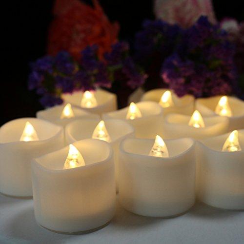 Advocator - Set 24 pezzi di candele a batteria, luce gialla tremolante, a LED 24 Timer Warm White