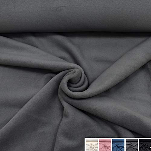 MAGAM-Stoffe Antonia Bio Fleece Stoff 100% Baumwolle Meterware 50cm (3. Dunkelgrau)
