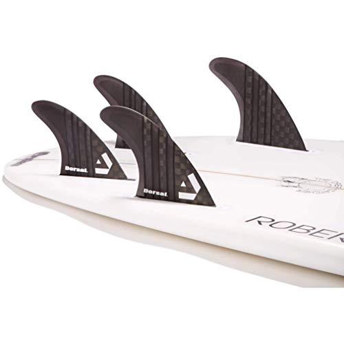 DORSAL Carbon Hexcore Quad Surfboard Fins (4) Honeycomb FUT Base Black