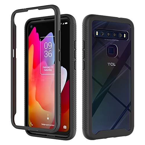 Dzxouui for TCL 10L Case,TCL 10 Lite Case,Heavy Duty 2 in 1 Protective Shockproof Bumper Hybrid Back Clear TPU Cover Phone Cases for TCL 10L / TCL 10 Lite(XK-Black)