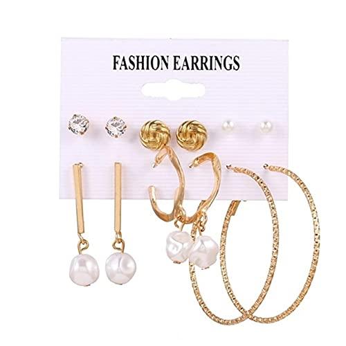 FEARRIN Pendientes de Moda Diseño único Pendientes de Perlas Vintage para Mujer Gran Cruz de Oro Conjunto de Pendientes Borla Larga Mariposa Pendientes Colgantes Joyería H248-807-8