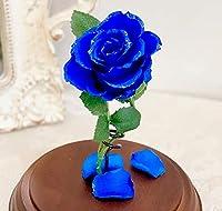 美女と野獣 バラ 天然ダイヤ付き ガラスドーム 真実の愛の贈り物 (ブルー)