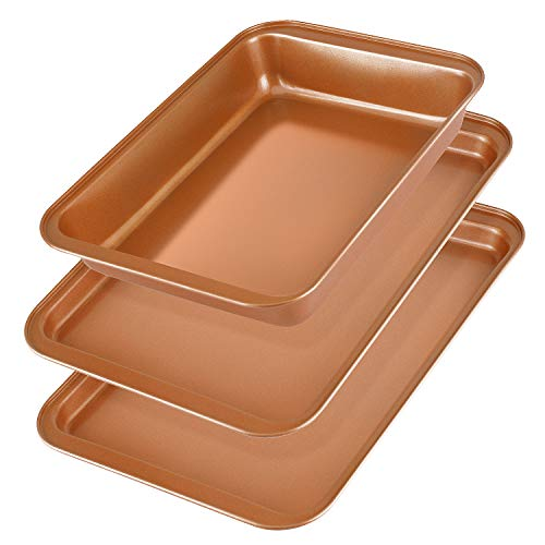 Baking Sheet Pans Cookie Sheet, KeShi Nonstick Cookie Trays, Baking Pan Professional for Oven, Prime Bakeware Set 3, Rust Free and Good Clean, Christmas Gift for Baking (Bronze)