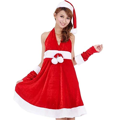 MEI XU Christmas Costume - Christmas Dress Sexy Female Adult Costume Santa Claus Cosplay Costume Theme Party Collection Costume Winter @ (Color : Red, Size : #001)