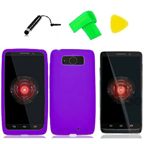 Silicone Gel Skin Cover Phone Case + Screen Protector + Extreme Band + Stylus Pen + Pry Tool for Motorola Droid Mini XT1030 XT-1030 Obake Mini (Silicone Purple)