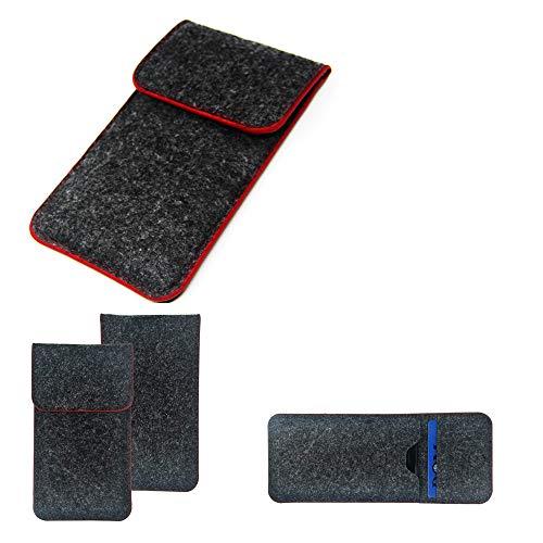 K-S-Trade Handy Schutz Hülle Kompatibel Mit OnePlus 6T McLaren Edition Schutzhülle Handyhülle Filztasche Pouch Tasche Hülle Sleeve Filzhülle Dunkelgrau Roter Rand