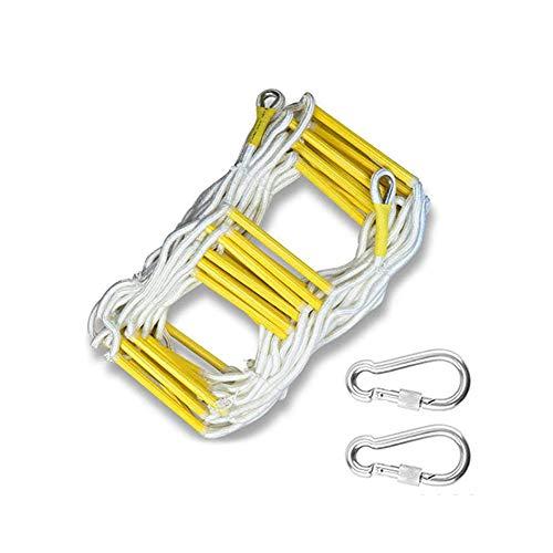 Keptfeet Fluchtleiter, Seilleiter, Outdoor Edelstahl Seilleiter mit 2 Schnallen, geeignet für Kinderspielausrüstung, Kataster, Evakuierung, Rettungseinsätze, 5 m