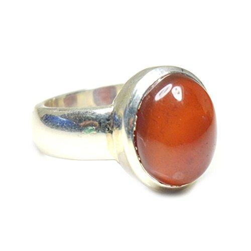 Jewelryonclick 5 Carat Natural Carnelian Silver Rings for Women Chakra Healing Gemstone Jewelry Size H-Z