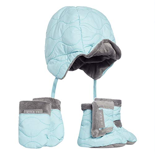 JJ Cole - Bomber Hat Set, Winter Boots, Mittens, and Hat to Keep Baby Warm and Comfortable, Aqua, 0 to 6 Months