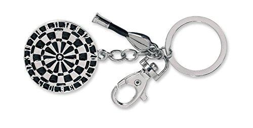 Schlüsselanhänger Dartscheibe aus Metall und Dartpfeil mit Ring 1 Stück
