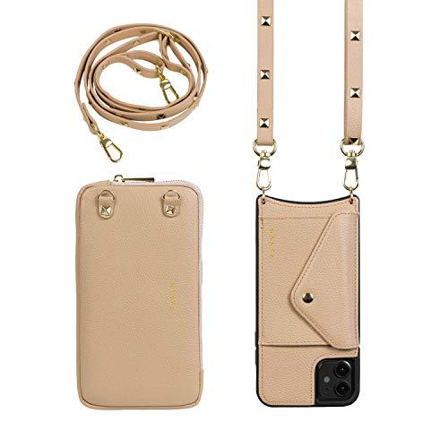 Hanek - Cover a tracolla per cellulare iPhone 7/8/SE in pelle nude + borsetta - Include: cover per cellulare + tracolla + borsetta in similpelle per cellulare e dettagli dorati