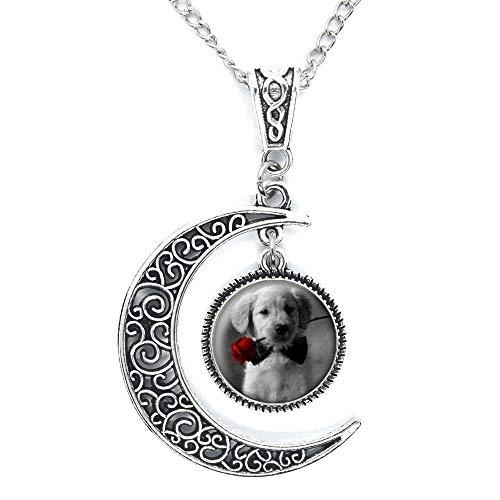 Perro negro y blanco, rojo rosa cabujones collares de cristal colgantes, collar delicado, collar para mascotas-#139