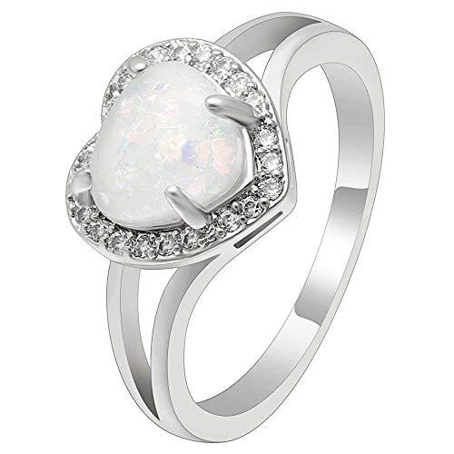 Anillo de promesa de corazón para mujer de 1/2 quilates con forma de corazón de ópalo transparente, chapado en oro blanco de 14 quilates de plata 925