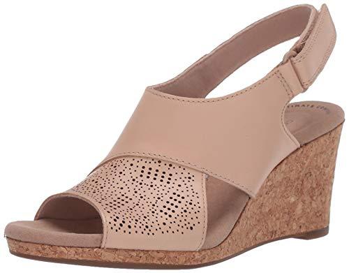 Clarks Women's Lafley Joy Wedge Sandal, Blush Leather, 8 M US
