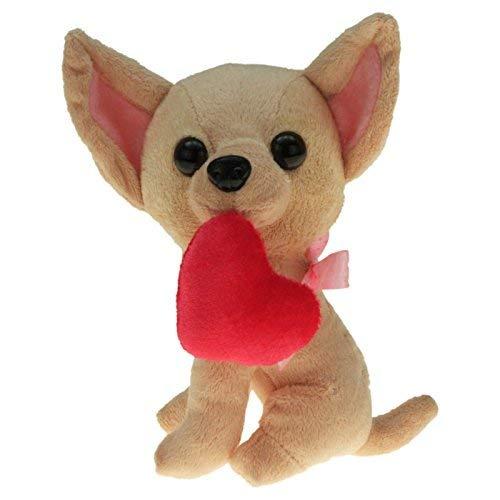 Plüsch Hund Chihuahua ca. 18 cm mit Herz und Schleife und Plüsch Igel 15 cm , 2er Set