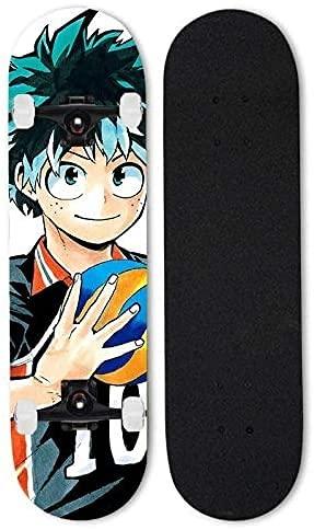 ZZYYII My Hero Academia: Midoriya Izuku Skateboard, Anime Doble Tilt Skateboard Monopatín Completo, 7 Capas Mapate Skateboard Concave Cruiser Stunt Skate para niños y Adultos