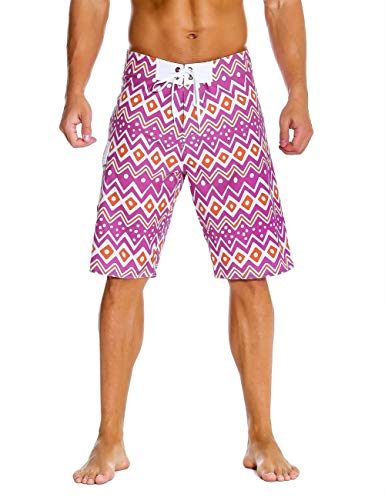 Unitop Men's Board Shorts Quick Dry Beach Shorts with Linning Purple and Yellow 38