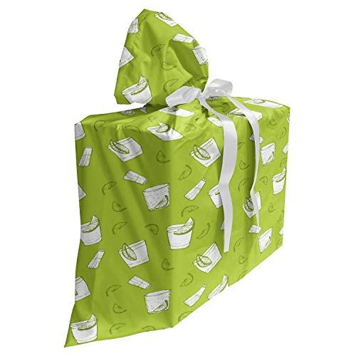 ABAKUHAUS Tequila Cadeautas voor Baby Shower Feestje, Alcohol Culture Pattern, Herbruikbare Stoffen Tas met 3 Linten, 70 cm x 80 cm, Apple Green White