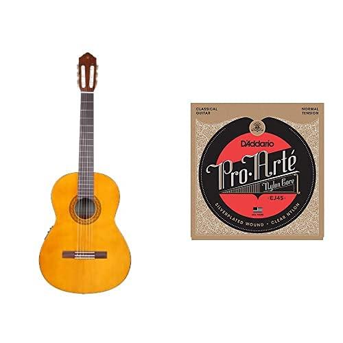 Yamaha Cx40 Ii - Tapa De Pícea + D'Addario Ej45 - Juego De Cuerdas Para Guitarra Clásica De Nylon (Tensión Normal), Transparente