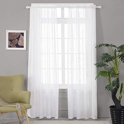 """Sheer White Curtains 95 Inches Embroidered Branch Patterned Semi Window Treatments Rod Pocket Voile Curtain Panels for Living Room, Bedroom, Yard, Patio, Villa, Parlor, Set of 2, 52""""x95""""."""