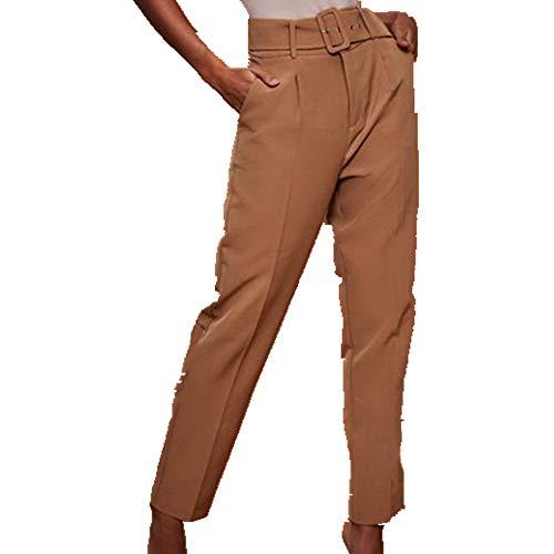 N\P Formale Donne Pantaloni A Vita Alta Cintura Pantaloni Vestito Di Colore Candy Femme Pantalones Abbigliamento Da Lavoro Donne Pantaloni Gamba Dritta Slacks Marrone XL