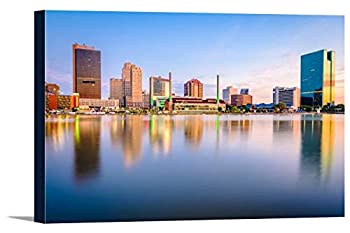 Toledo Ohio - Skyline on the River at Sunset 9007002  18x12 Gallery Wrapped Stretched Canvas