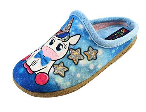 ALBEROLA Kinder Hausschuh/Pantoffel HELLE Sohle A23759A Einhorn GLITZERSTERNEN (34)