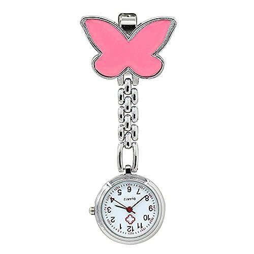BAIDEFENG Bolsillo Digital multifunción Reloj,Reloj de Cuarzo con Colgante de Mariposa, Mini Reloj médico-Rosa,Reloj Llavero Impermeable