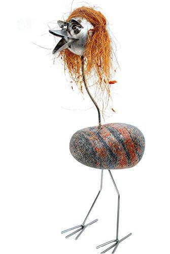 J. Tiedemann Manufaktur & Design Mia ist mit ihren Haaren etwas Besonderes. Gartenfigur-Edelstahl-Steinvogel mit Naturstein und Kokoffaser Haare wetterfest, rostfrei.
