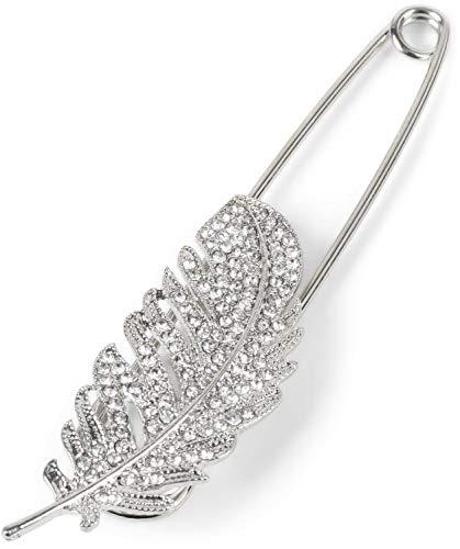 styleBREAKER Damen Schmucknadel mit Strass Feder für Ponchos, Tücher oder Schals, Sicherheitsnadel 05050083, Farbe:Silber