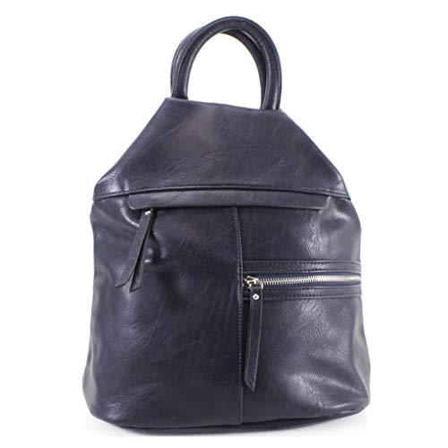 Faux Leather Backpack For Women Girls, LeahWard Anti-Theft Travel Rucksack Convertible Top Handle Bag (Navy)