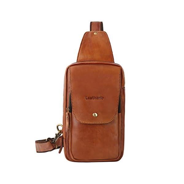 41Kmw9uv1TL. SS600  - Leathario Bolso Pecho Hombro Bandolera Cruzado Cuero Guenino Vintage de Trabajo para Hombres Mochila Pecho Piel Grande para Viaje Crossbody Sling Bag