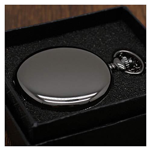 Moonlight Star Retro Negro Plata Colgante de Acero Liso 30CM Steampunk de Cuarzo Reloj de Bolsillo Inoxidable Cadena Caja de Regalo Hombres Mujeres Amigo (Color : Black Set Box)