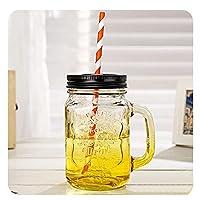 QIXIAOCYB 5ピースガラスの飲みの瓶の蓋と再利用可能なストロー、ハンドル、スムージービールのコーヒーカップ、ナッツ穀物の穀物の貯蔵タンク450ml / 16oz、5紫色のガラスカップ (Color : Five Yellow Glass Cups)