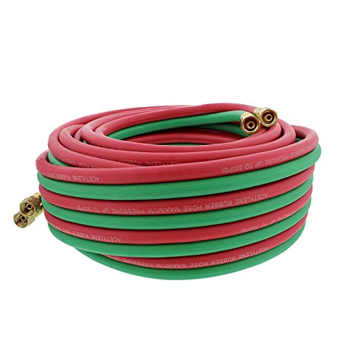 ABN Oxygen Acetylene Hose 1/4 Inch B Fittings Twin Welding Hose Oxy Acetylene Torch Hose Cutting Torch Hoses, 50 Foot