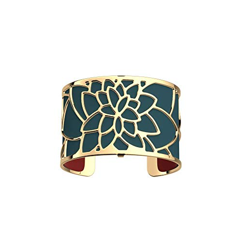 Les Georgettes - Bundle - Armreif in Gold 40mm Nenuphar See Rose inkl. Ledereinsatz Petrol Blau/Himbeer Rot