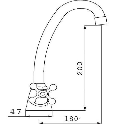 Ferro – Küchen-Standmischbatterie mit Nostalgiegriffen, Chrom - 2