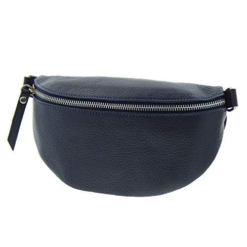 IO.IO.MIO echt Leder Bauchtasche Damen Hüfttasche Gürteltasche Crossbody Bag Frauen Ledertasche dunkelblau