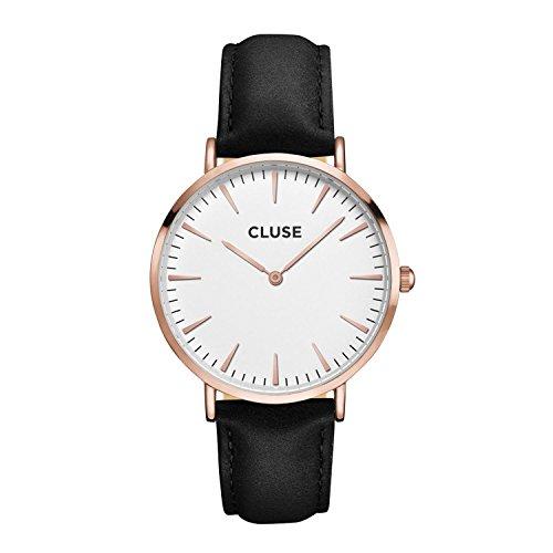 CLUSE Armbanduhr La Bohème Rose Gold Leder Schwarz...