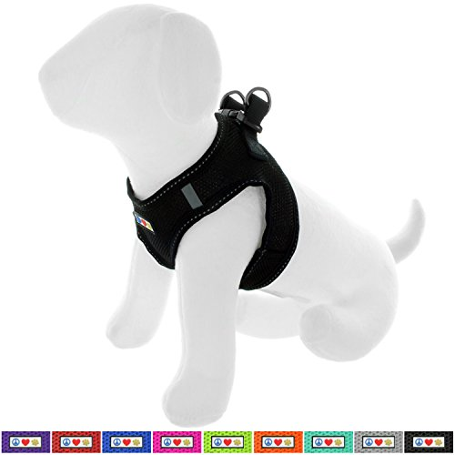 Pawtitas Pet Reflective Mesh Dog Harness, Step in or Vest Harness, Comfort Control, Training Walking of Your Puppy/Dog XS Extra Small Black Dog Harness