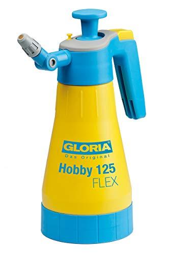 GLORIA Drucksprüher Hobby 125 FLEX | Gartenspritze | Handsprüher | 1,25 L Füllinhalt | Mit Gelenkdüse und 360°-Sprühfunktion | Über-Kopf-Sprühen