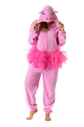 Just Love 6352-M Adult Onesie Womens Pajamas,Pig in Tutu,Medium