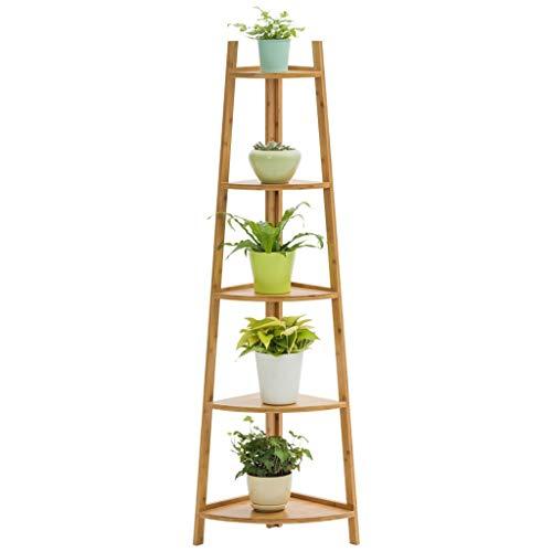 H-ei Soporte de exhibición de Flores Multicapa con Marco de bambú, Que se Puede Combinar como Estante for Plantas | Estante de exhibición | Soporte for macetas (5 Niveles) 50x34x147cm