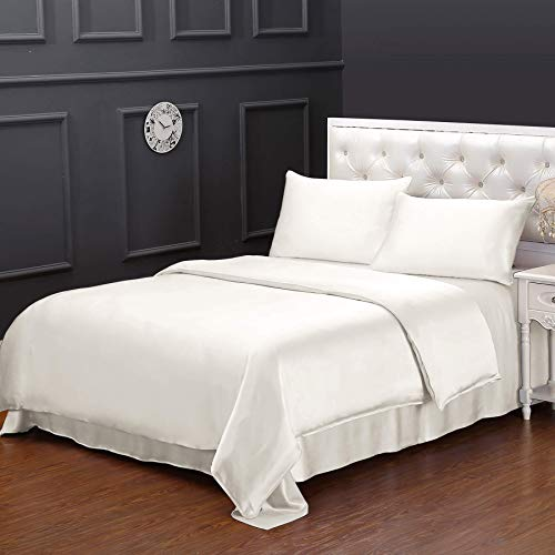 LilySilk 100% Mulberry Silk Duvet Cover for Queen Bed Soft Comfy 19 Momme Silk Ivory