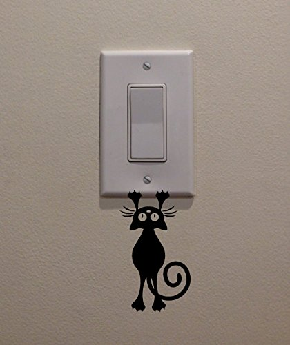 YINGKAI Cat/Kitten Hanging from Light Switch Decal Vinyl Wall Decal Sticker Art Living Room Carving Wall Decal Sticker for Kids Room Home Window Decoration