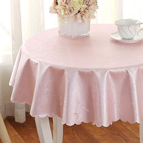 Yinaa Mantel para de Cocina Salón Rectangular Anti Escaldado Anti Rayado Impermeable Diseño de Comedor Decoración del Hogar Un Círculo Rosa de 180cm de Diámetro.