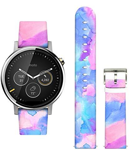 Ecute 20mm Quick-Release Leather Watch Band Strap for Galaxy Watch Active 2/Galaxy Watch 42mm/Galaxy Gear S2 Classic/Gear Sport/Garmin Vivomove/HR/Vivoactive 3 - Color Art Print
